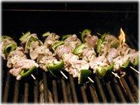 grilling chicken souvlaki