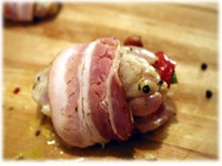 marinated stuffed chicken wrapped in bacon