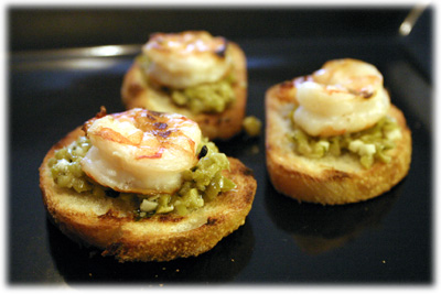 Grilled shrimp and olive tapenade appetizers from tasteofBBQ.com
