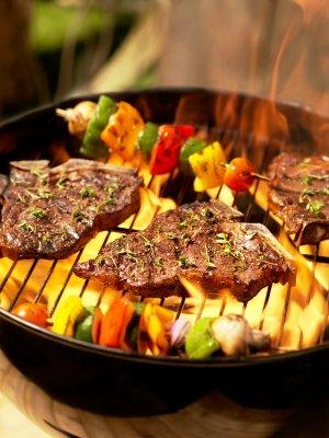t-bone steaks on the grill