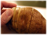 preslicing a baked potato