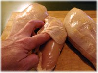 remove skin from chicken