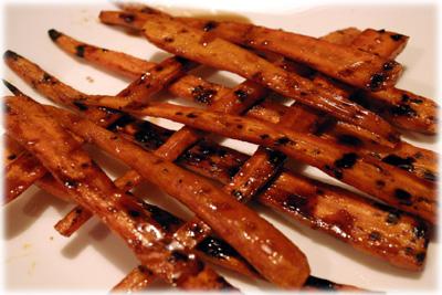 honey glazed carrots on the grill