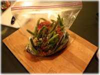 marinating grilled green beans