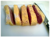 slicing peameal bacon