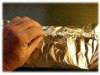 sealing potato foil pouch