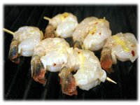 shrimp kabobs on the grill