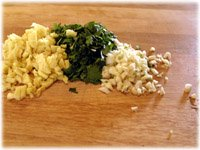 chopped cilantro garlic ginger