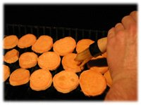 sweet potato discs on grill