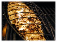 grilling fish in basket