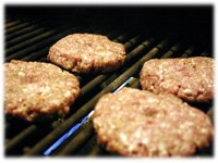 grilling hamburger patties