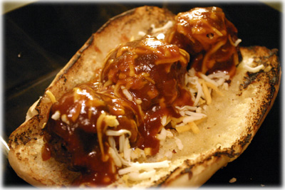 meatball sub with bourbon bbq sauce