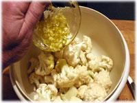 garlic and oil on cauliflower pieces