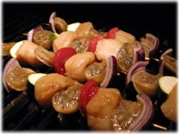 shrimp scallop and vegetable kabobs