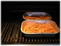 cooking sweet potato fries on the grill