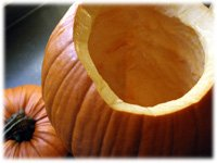 carving pumpkin for stuffing