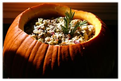 traditional turkey stuffing in a pumpkin